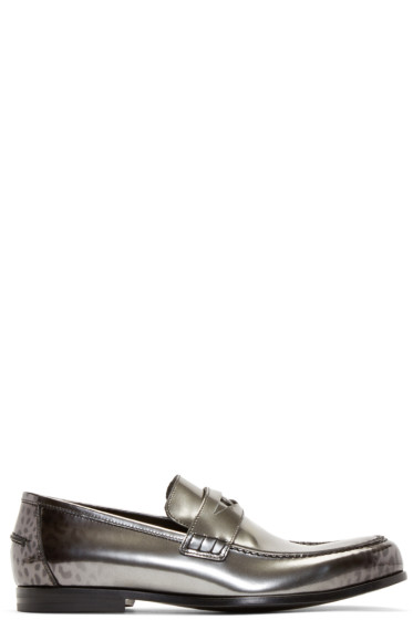 Jimmy Choo - Gunmetal Leopard Darblay Loafers