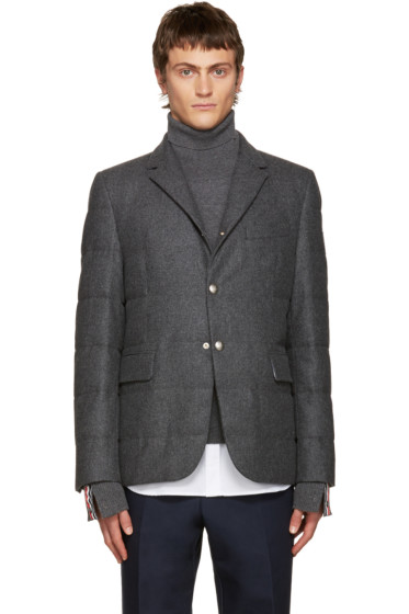 Moncler Gamme Bleu - Grey Wool Quilted Down Blazer