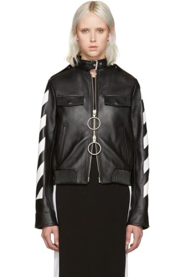 Off-White - Black Leather Arrows Moto Jacket