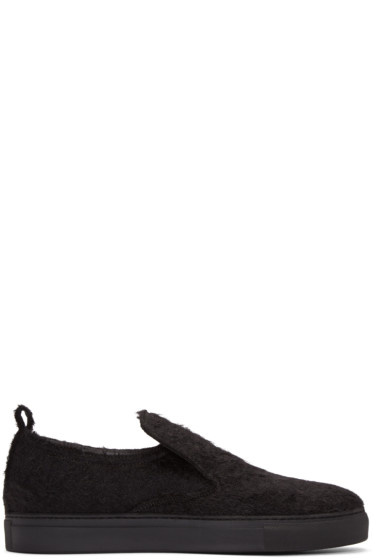 AD Ann Demeulemeester - Black Mohair Harrison Slip-On Sneakers