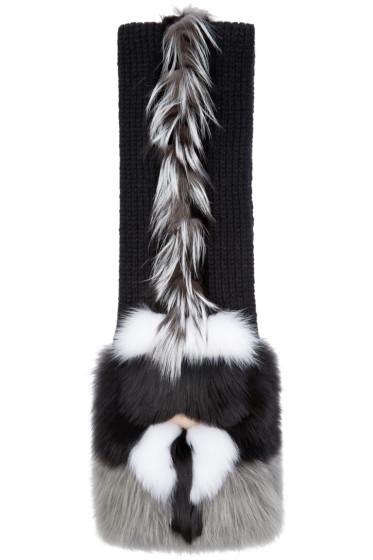 Fendi - Black Fox Fur-Trimmed Karlito Scarf