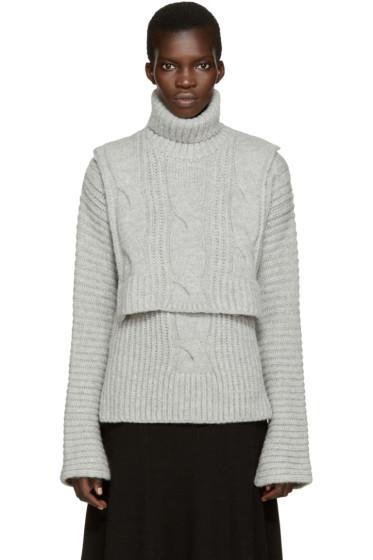 Cédric Charlier - Grey Cable Knit Turtleneck Collar