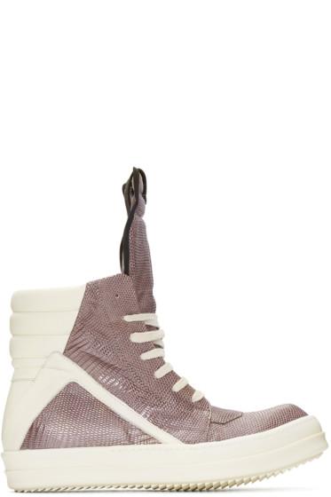Rick Owens - Grey Lizard Geobasket High-Top Sneakers