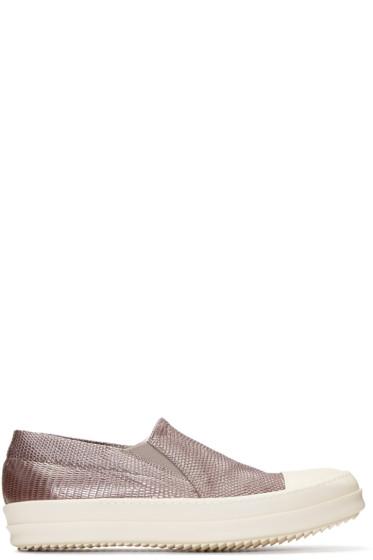 Rick Owens - Grey Lizard Boat Slip-On Sneakers