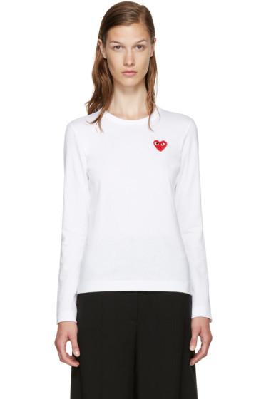 Comme des Garçons Play - White Long Sleeve Heart T-Shirt