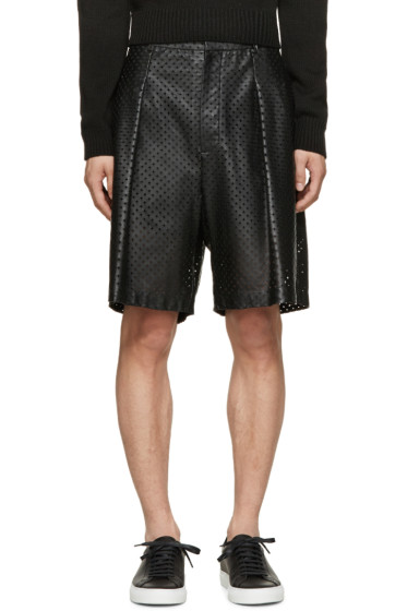 Givenchy - Black Perforated Leather Shorts