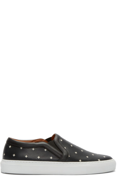 Givenchy - Black Cross Print Slip-On Sneakers