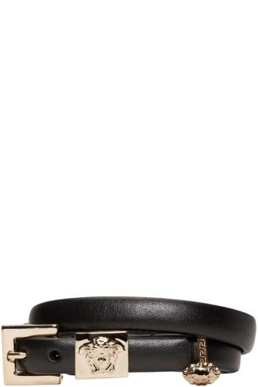 Versace - Black Leather Medusa Charm Bracelet