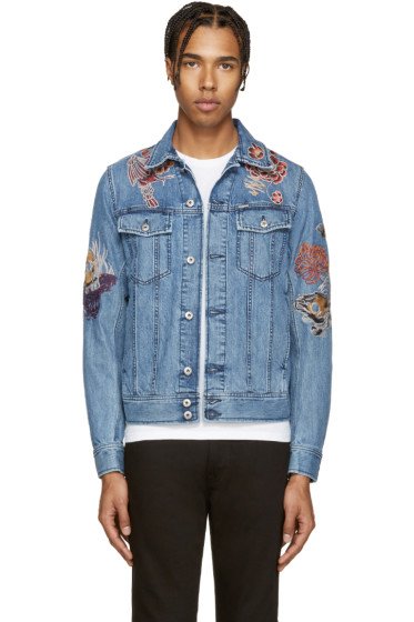 Diesel - Blue Embroidered Denim Jacket