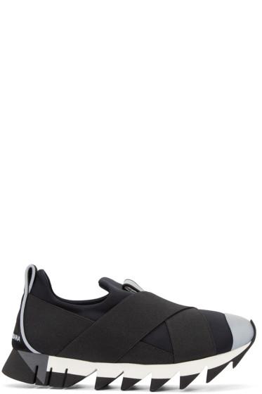 Dolce & Gabbana - Black Straps Slip-On Sneakers