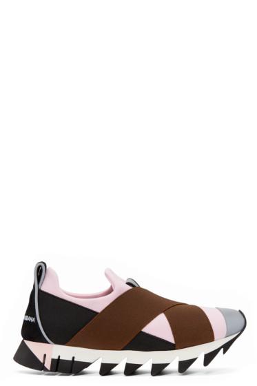 Dolce & Gabbana - Black & Pink Straps Slip-On Sneakers