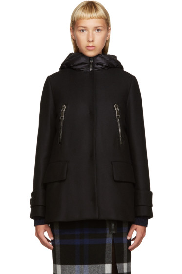Moncler - Black Wool Layered Coat