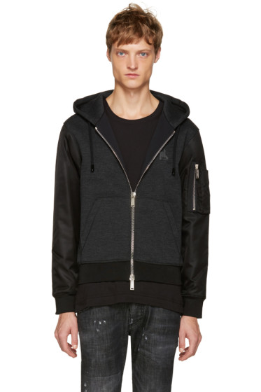 Dsquared2 - Grey Contrast Sleeves Hoodie