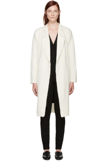 Helmut Lang - Ivory Long Alpaca Coat