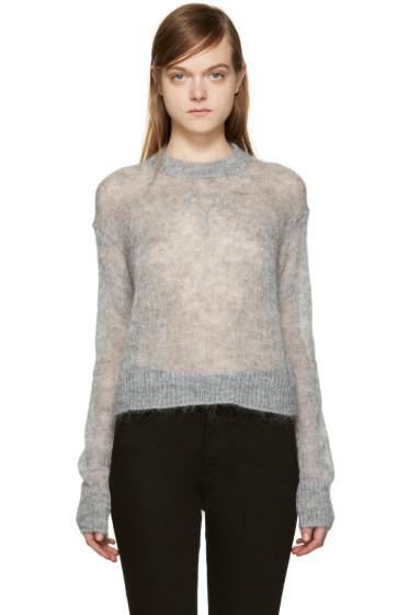 T by Alexander Wang - Grey Open-Knit Sweater