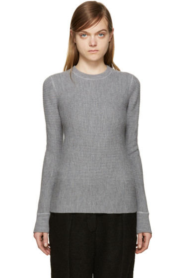 T by Alexander Wang - Grey Merino Wool Waffle-Knit Sweater