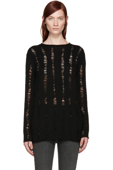 T by Alexander Wang - Black Dropped Needle Sweater