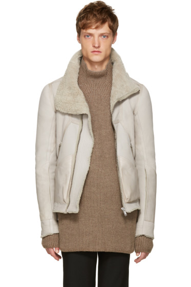 Rick Owens - Grey Shearling Biker Jacket
