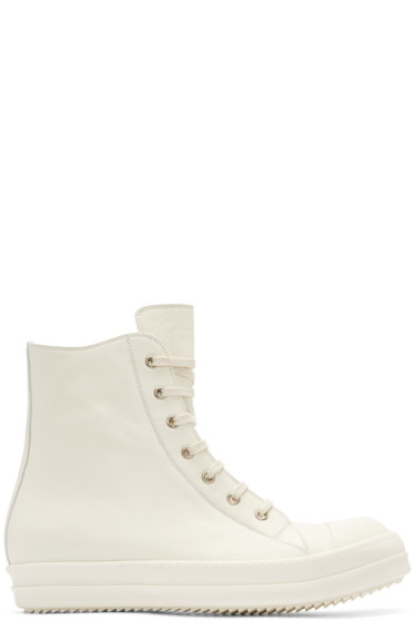 Rick Owens - White High-Top Sneakers
