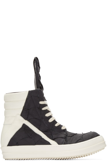 Rick Owens - Black Croc-Embossed Geobasket High-Top Sneakers