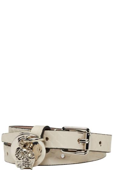 Alexander McQueen - White Snake-Embossed Double Wrap Bracelet