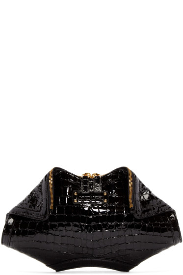 Alexander McQueen - Black Croc-Embossed Small De Manta Clutch