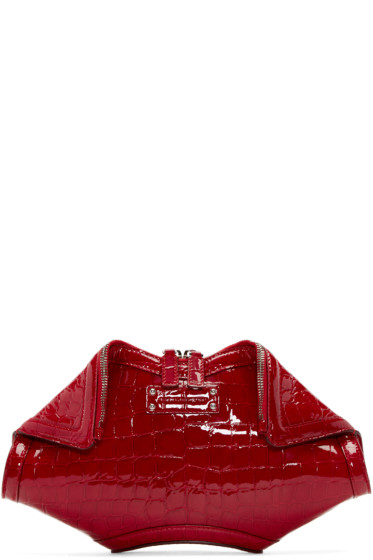 Alexander McQueen - Red Croc-Embossed Small De Manta Clutch