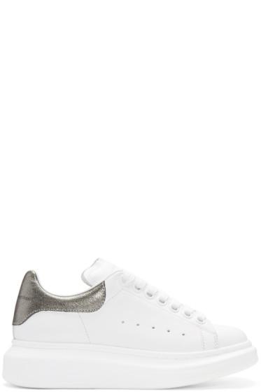 Alexander McQueen - White & Gunmetal Leather Sneakers