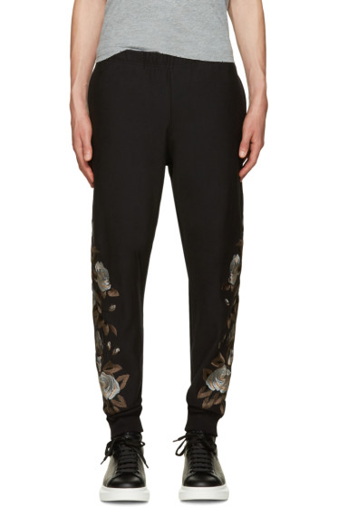 Alexander McQueen - Black Floral Embroidered Lounge Pants