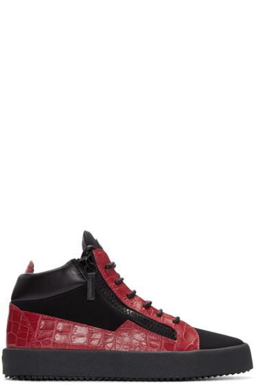 Giuseppe Zanotti - Black & Red London High-Top Sneakers