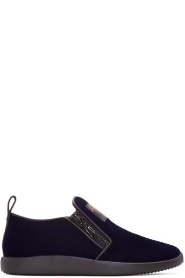 Giuseppe Zanotti - Navy Velvet Slip-On Sneakers