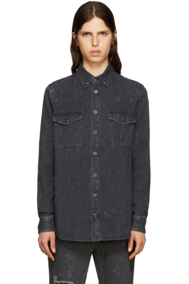 Givenchy - Grey Distressed Denim Shirt