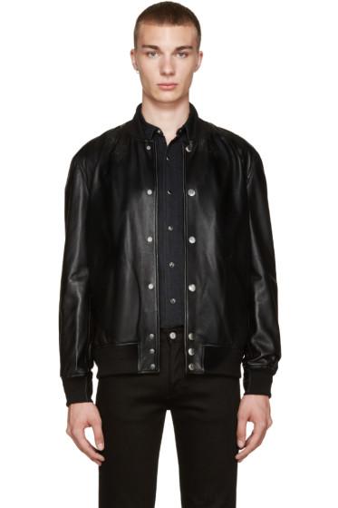 Givenchy - Black Leather Stars Bomber Jacket