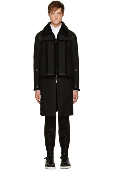 Neil Barrett - Black Shearling Hybrid Jacket