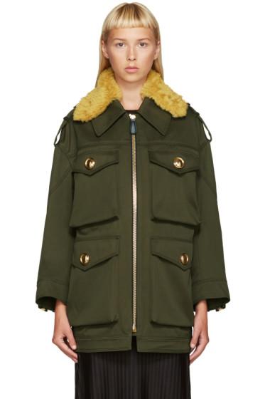 Burberry - Green Shearling Collar Jacket
