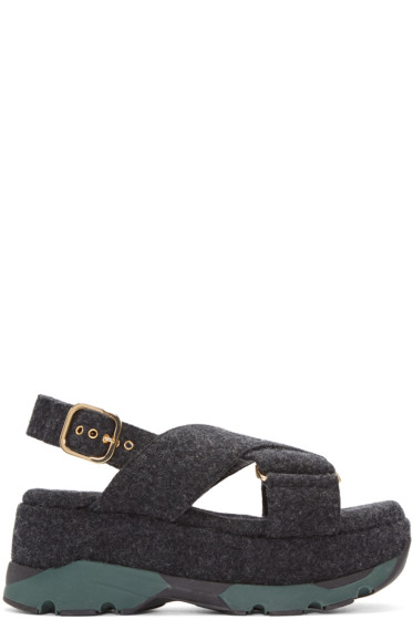Marni - Grey Felted Platform Sandals
