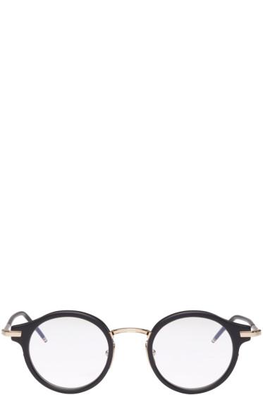 Thom Browne - Black & Gold Round Glasses