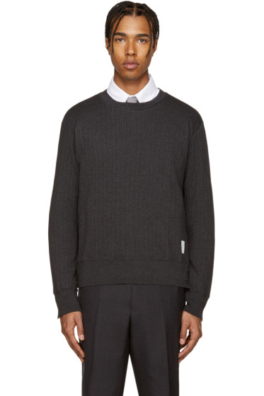 Thom Browne - Grey Ribbed Pullover