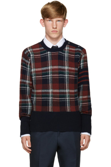Thom Browne - Navy Plaid Sweater