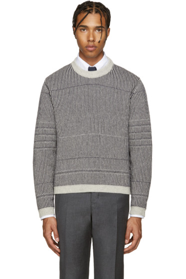 Thom Browne - Grey Knit Striped Pullover