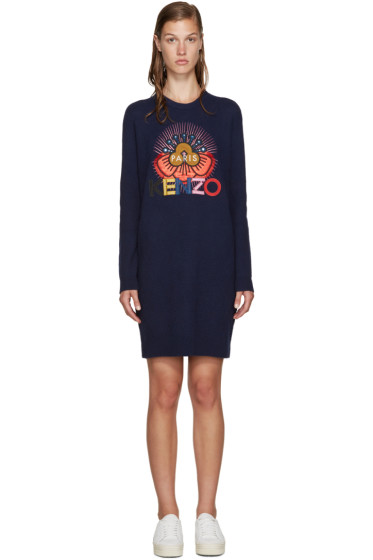 Kenzo - Blue Embellished Logo Dress