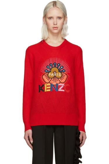 Kenzo - Red Embellished Logo Sweater