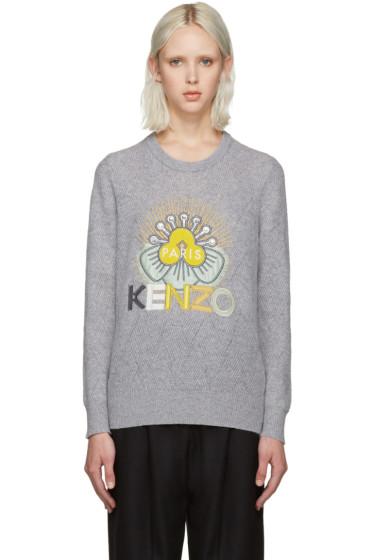 Kenzo - Grey Wool Tanami Flower Sweater