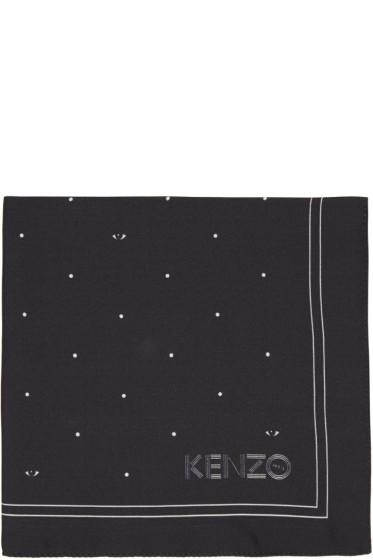 Kenzo - Black Printed Pocket Square