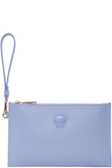 Versace - Blue Small Leather Pouch