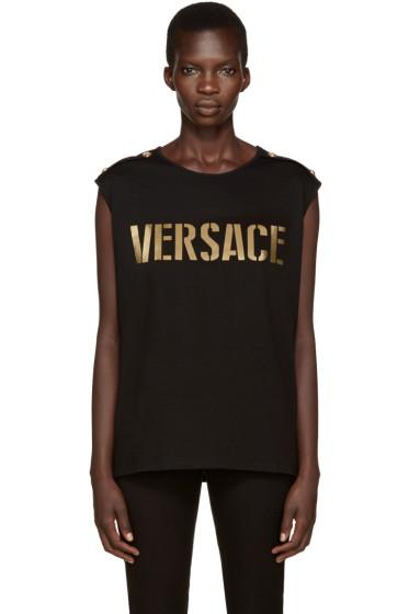 Versace - Black & Gold Logo Tank Top
