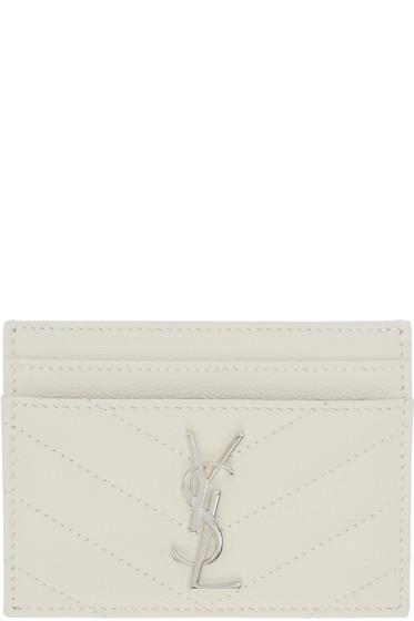 Saint Laurent - White Monogram Card Holder