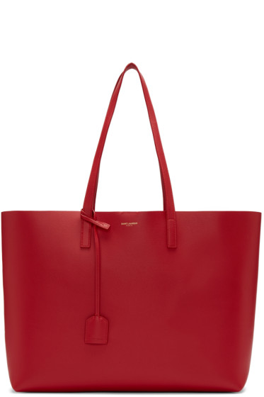Saint Laurent - Red Large Shopping Tote Bag