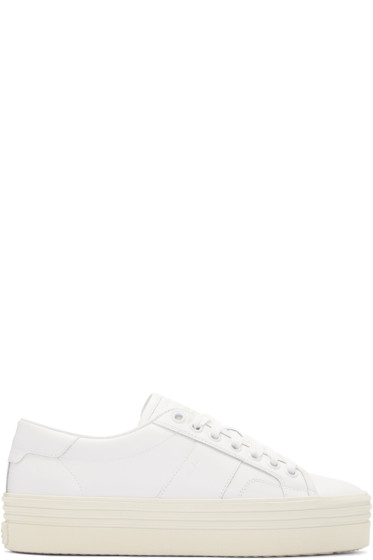 Saint Laurent - White Platform Court Classic Sneakers