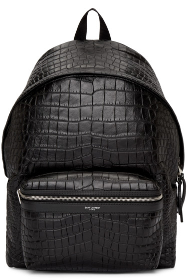 Saint Laurent - Black Croc-Embossed Leather Backpack